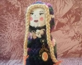 Maurya Crimsonfish - handmade folk art amigurumi fantasy doll