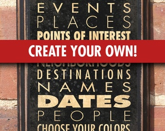 Customized Personalized DYI Transit Scroll List Wall Art Sign Plaque Gift Present Home Decor Vintage Custom Color Copy Wedding Anniversary