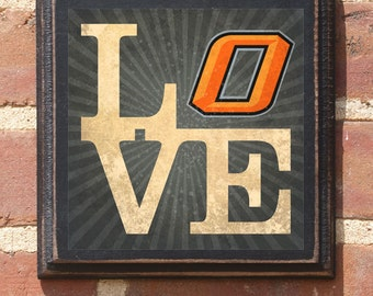 Oklahoma State University Cowboys Love - OSU Wall Art Sign Plaque Gift Present Home Decor Vintage Style Antiqued Pistol Pete Stillwater OK