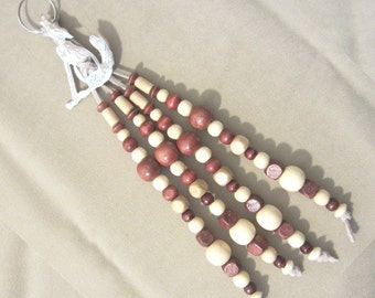 Southwestern Leather & Wood Beaded Silver Coyote Concho Keychain, Handmade Original Western Style Country Fashion Accessory Ladies Gift Idea