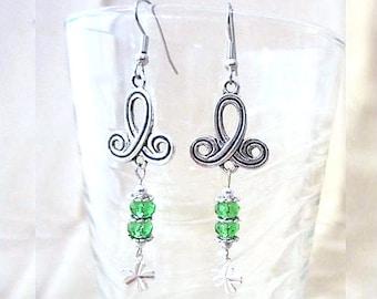 Celtic Twist & Green Bead Chandelier Earrings w/ Silver Shamrock Charms, Handmade St. Patrick's Day Original Design Fashion Jewelry, Irish