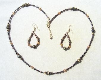 BOHO Beaded Jewelry Set Tiger's Eye & Copper Beaded Necklace Set, Glass Bead Jewelry Set, Jewelry Sets Earth Tones, Handmade Beaded Jewelry