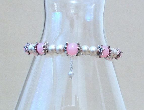 PLUS SIZE - Taupe Glass Pearl & Soft Pink Jade Bracelet, Handmade Original Fashion Jewelry, Classic Feminine Sophisticated Elegant Gift Idea
