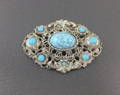 Vintage Turquoise Glass Czech Brooch with Aqua Rhinestones. Ornate Pot Metal