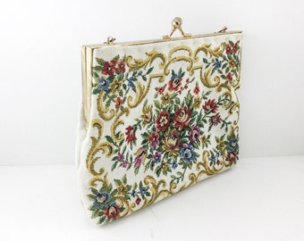 White Vintage Signed Du Val Tapestry Handbag, Floral Purse. Lots of colorful flowers. Faux Petite Point Purse / Faux embroidery. Japan Purse