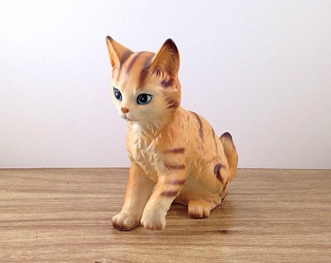 Sweet Orange Ceramic Kitty Cat, Signed Japan. Japanese Wares Vintage Ceramic Cats. Orange Brown White Tabby.