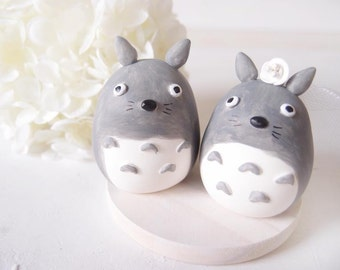 LOVE Handmade Wedding Cake Toppers - Totoro with wooden base