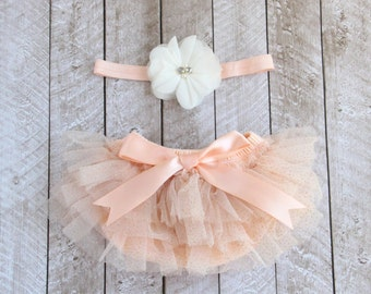 Baby Girl Ruffle Bottom Tutu Bloomer & Headband Set in Gold Glitter Peach - Newborn Photo Set - Diaper Cover - Baby Gift - First Birthday