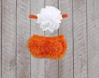 Baby Girl Ruffle Bottom Bloomer & Headband Set in Orange and White - Newborn Photo Set - Infant Bloomers - Diaper Cover - Baby Gift