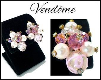 Pink AB Crystal & Pearl Earrings, Designer Vendome, Aurora Borealis, Lampwork Beads Rhinestones Bridal Earrings, Pink Earrings, Gift for Her