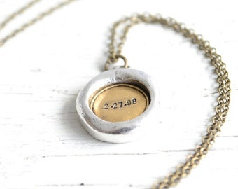 Personalized Jewelry Necklace, silver and gold pendant, rustic style jewelry
