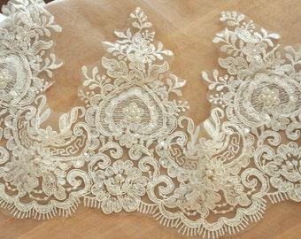 Beaded Alencon Lace Trim , Bridal Wedding Veil Trim Lace , Crystal Beaded Lace Trim