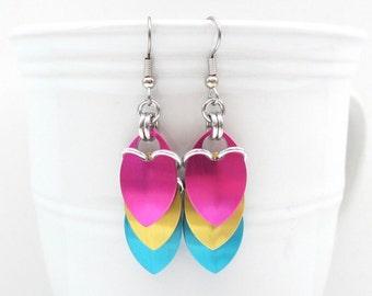 Pansexual pride earrings, pan pride jewelry, chainmail scales earrings; pink, yellow, light blue