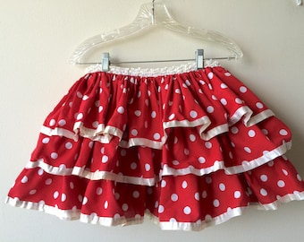 Vintage Red Polka Dot Tiered Mini Skirt