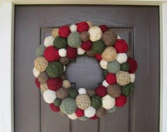 Handmade Winter Wreath.  Winter Yarn Ball Wreath. Holiday Wreath. Christmas Wreath. Yarn Wreath. Door Hanging. Door Decor.Wall Hanging.