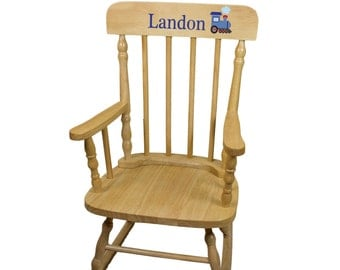 Wood rocking chair etsy for Kids chair with name