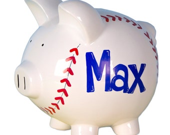 Personalized Baseball Piggy Bank Classic White Ceramic Pig Banks hand painted with baseball stitches and name baseballs slugger PIGG-base