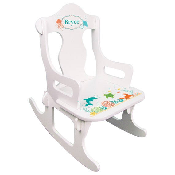 Personalized Sea Life Rocking Chair Childs Custom Puzzle Rocker Dory ...