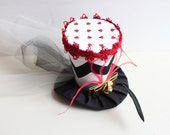 Mini Top Hat - Red Mini Hat - Birthday Hat - Top Hat Photo Prop - Red Hearts Tea Party Hat - Mad Hatter -Alice in Wonderland