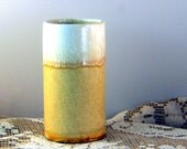 McCoy Lancaster Colony vintage pottery yellow white  drip glaze, texture and speckles