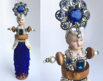 "ON HOLD for VZ.....  Cobalt Queen, mixed media, assemblage art, altered art doll ornament, original 11"" flapper, by Elizabeth Rosen"