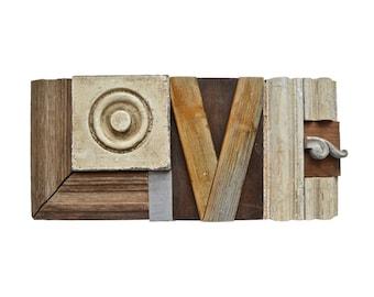 love sign, wood wall art, assemblage art, architectural salvage, typography art, ORIGINAL ART by Elizabeth Rosen