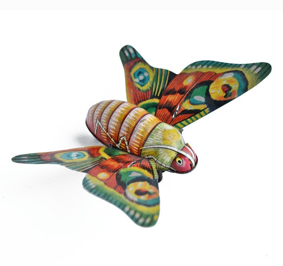 vintage tin friction toy butterfly litho Alps Japan  from Elizabeth Rosen