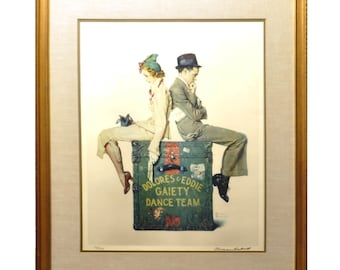 Norman Rockwell Signed Lithograph - Dolores and Eddie Gaiety Dance Team - 193/200 - Vintage Framed Signed Limited Edition Pencil Signed Art