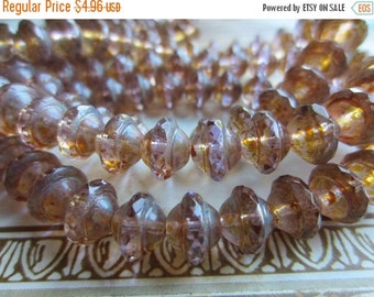 ON SALE Czech Glass Saturn Bead 8mm x 10mm Light Lavender Picasso QTY 10