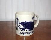 Coffee Mug, Vintage 70s Taylor and Ng La Grenouille Frog Mug – Dark Blue – Frog Dragonfly Fairy Mug