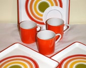 JSC Candy Stripes Plastic Printed Plates and Mugs Snack Set Mid Century Modern – 3 Sets, 6 Pieces