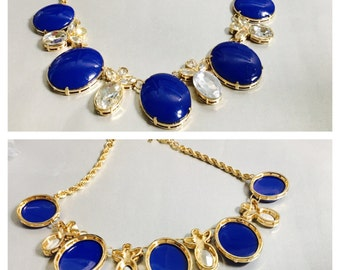 Large lapis blue vintage Necklace, Gold Tone rope chain, Clear Rhinestones, Item No. B122