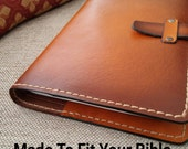 Custom Handmade Leather Bible Cover in Saddle Tan w/ Sunburst effect - Made to fit your Bible