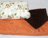 Sale!!!!! Crib sheet and minky blanket set. Day at the zoo print