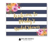 BRIDAL Shower WELCOME SIGN Navy & White Striped Gold Glitter Wedding Bachelorette Party Baby Shower Pink Flowers Priority Shipping- Mady