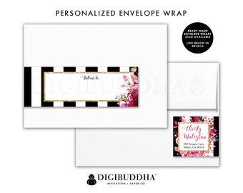 ADDRESS LABELS Stripe Pink Roses Envelope Wrap Address Label Sticker Wrap Around Return Address Label DIY Printable Wrap Labels - Christy