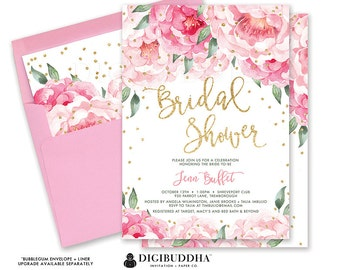 Floral Bridal Shower Invitation Florals Custom Bridal Shower Invite Floral Bridal Invite Printed Bridal Shower Invite DIY or Printed - Jenn