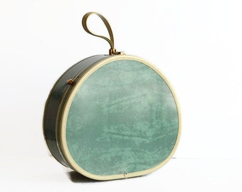 vintage Samsonite bermuda green round hat box suitcase 1950s luggage