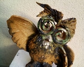 Cute owl , home decor , ceramic figurine , fan art. Symbol of wisdom.