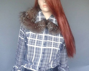 vintage Fendi blouse, butterfly collar shirt, 70s blouse, black and white plaid