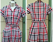 Vintage 1940s Red White Grey Plaid House Dress Day Dress Belt Small Rockabilly VLV
