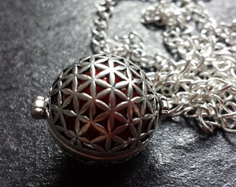 Silver Pregnancy Necklace, Mexican Bola Harmony Ball Necklace with coloured bola. Great gift for mum to be.