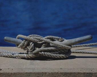 Horn Cleat Photo, Nautical Photography, Boat Rope Knot, Blue Gray Silver Wall Art, Tropical Beach House Coastal Home Decor Wall Art