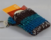 Key Chain Tea Tote, Blue Striped Key Ring Wallet, Knitted Key Ring Pocket, Striped Keychain, Reward Card Wallet, Womens Teal Tea Tote