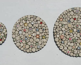 Wood Slice,Wall Art, Abstract Painting On Wood, Wood Sculpture, Rustic, Painted Tree Rings,Circles,Abstract Painting, Bullseye,Modern