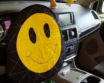 Smiley Face A reversible Quilted Steering Wheel cover