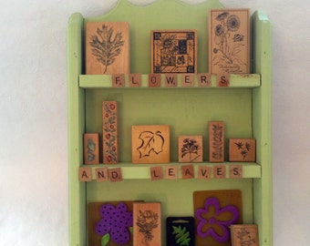 Flowers and Leaves - bargain wood mounted stamps - eleven stamps with hard wood display shelf - ready to hang - wood mounted rubber stamps