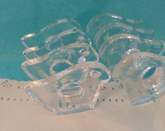 Pukeberg glass napkin rings - Set 0f 8 - Egg Holders - vintage  collectible - Swedish Glass Birds - holiday entertaining - hostess gift