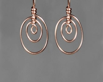 14k rose gold filled triple oval elipse hoop earrings handmade US free shipping Anni Designs