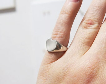 HEART RING, hand-made and hand engraved to order, Sterling Silver, signet ring - gold upon request